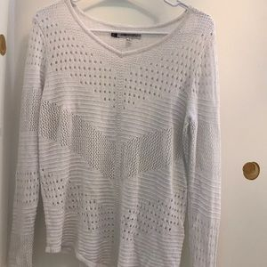 White and silver asymmetrical hem sweater